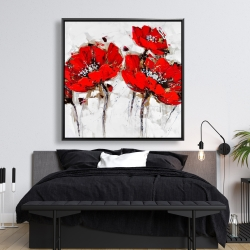 Framed 48 x 48 - Abstract poppy flowers