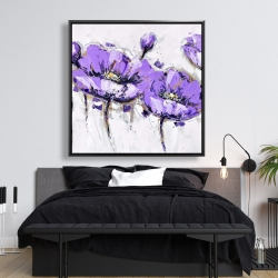 Framed 48 x 48 - Abstract purple flowers