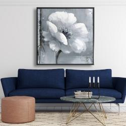 Framed 48 x 48 - Gray & white flowers