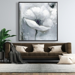 Framed 48 x 48 - Grayscale flowers