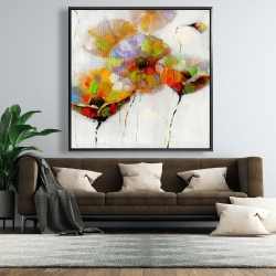 Framed 48 x 48 - Color dotted flowers