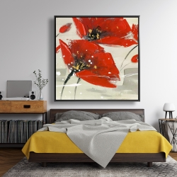 Framed 48 x 48 - Abstract red flowers in the wind