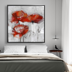Framed 48 x 48 - Abstract poppies
