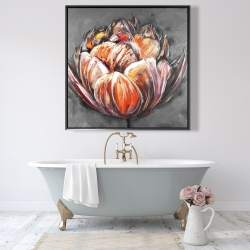 Framed 48 x 48 - Double and abstract orange tulip