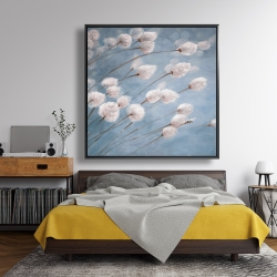 Framed 48 x 48 - Delicate cotton flowers