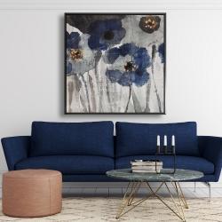 Framed 48 x 48 - Blue blurry flowers