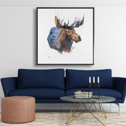 Framed 48 x 48 - Abstract blue moose