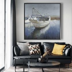 Framed 48 x 48 - Blue fishing boat