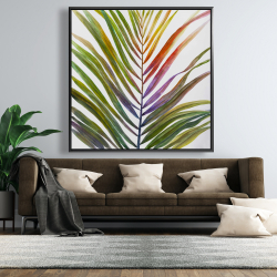 Framed 48 x 48 - Watercolor tropical palm leave