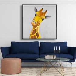 Framed 48 x 48 - Curious giraffe