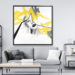 Framed 48 x 48 - Woman with yellow line