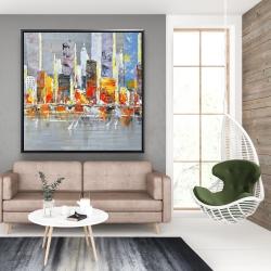 Framed 48 x 48 - Color splash cityscape