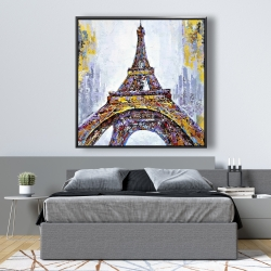 Framed 48 x 48 - Abstract paint splash eiffel tower
