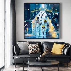 Framed 48 x 48 - Rainy streets of new york