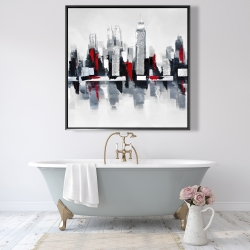 Framed 48 x 48 - Gray and red cityscape