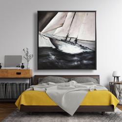 Framed 48 x 48 - Boat in a violent storm