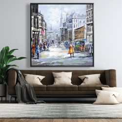 Framed 48 x 48 - Busy street by a cloudy day