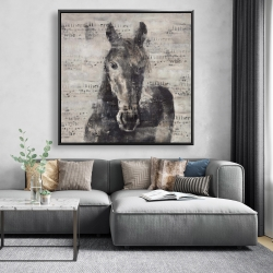 Framed 48 x 48 - Abstract horse with typography