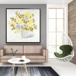 Framed 48 x 48 - Blue and yellow flowers in a vase