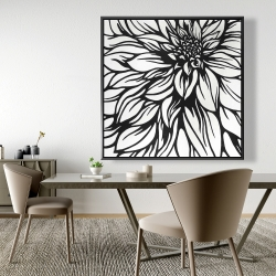 Framed 48 x 48 - Dahlia flower outline style