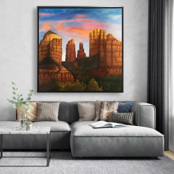 Framed 48 x 48 - Cathedral rock in arizona