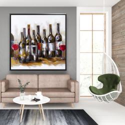 Framed 48 x 48 - Red wine bottles