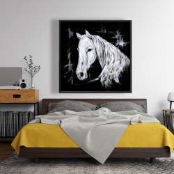 Framed 48 x 48 - Abstract horse profile view