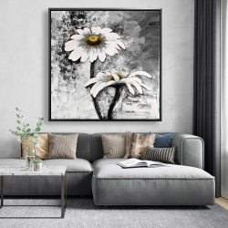 Framed 48 x 48 - Abstract daisies flowers