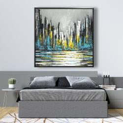 Framed 48 x 48 - Abstract blue skyline