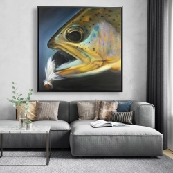 Framed 48 x 48 - Golden trout with fly fishing flie