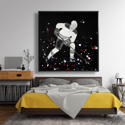 Framed 48 x 48 - Hockey player ready for action
