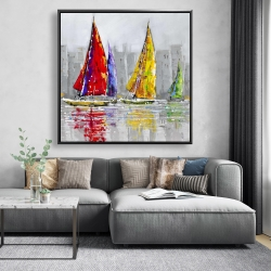 Framed 48 x 48 - Sailboats in the wind