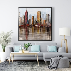 Framed 48 x 48 - Rust looking city
