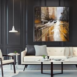 Framed 48 x 48 - Abstract city street