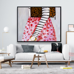 Framed 48 x 60 - Fashionable woman with a leopard bag