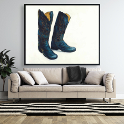 Framed 48 x 60 - Leather cowboy boots