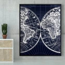 Framed 48 x 60 - World map blue print