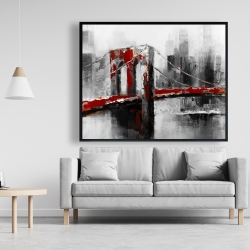 Framed 48 x 60 - Abstract and red brooklyn bridge
