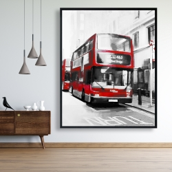 Framed 48 x 60 - Red bus in a gray street