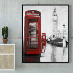 Framed 48 x 60 - Red phonebooth with the big ben