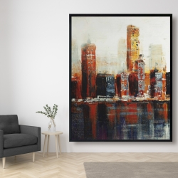 Framed 48 x 60 - Abstract red cityscape