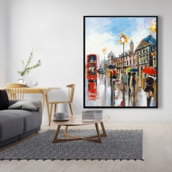 Framed 48 x 60 - Colorful street with red bus