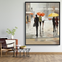 Framed 48 x 60 - Abstract passersby with umbrellas