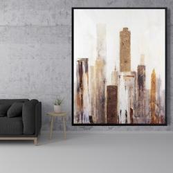 Framed 48 x 60 - Abstract earthy tones city