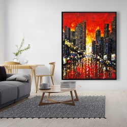 Framed 48 x 60 - Abstract sunset on the city