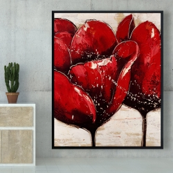 Framed 48 x 60 - Red tulips closeup