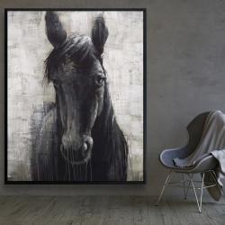 Framed 48 x 60 - Black horse