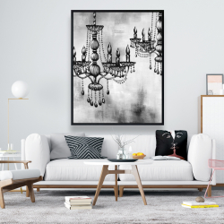 Framed 48 x 60 - Two crystal chandeliers 2