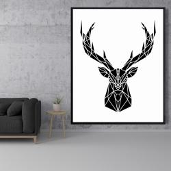 Framed 48 x 60 - Geometric deer head