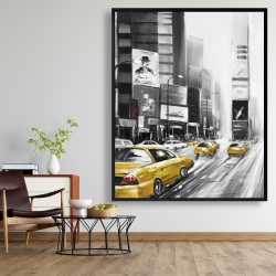 Framed 48 x 60 - Times square and yellow taxis